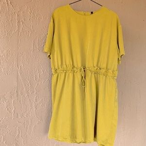 Chartreuse Lime Gathered Drawstring Waist Top